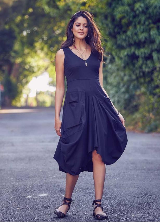 Bohem Tarz V Yaka Cepli Balon Etekli Siyah Elbise