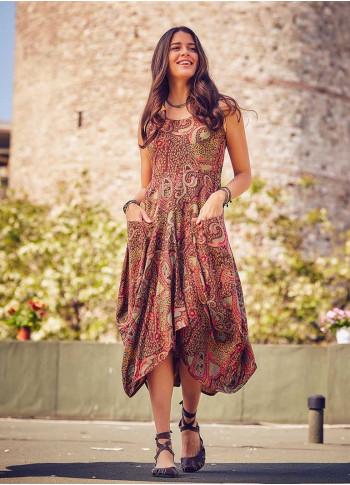 Bohem Tarz Asimetrik Kayık Yaka Yazlık Elbise
