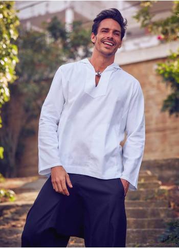 Uzun Kollu Kapşonlu Erkek Beyaz Gömlek