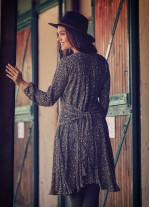 Kuşak Detaylı V Yaka Uzun Kollu Kloş Haki Elbise