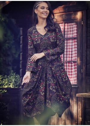 Karat Çiçek Desenli V Yaka Uzun Kollu Elbise