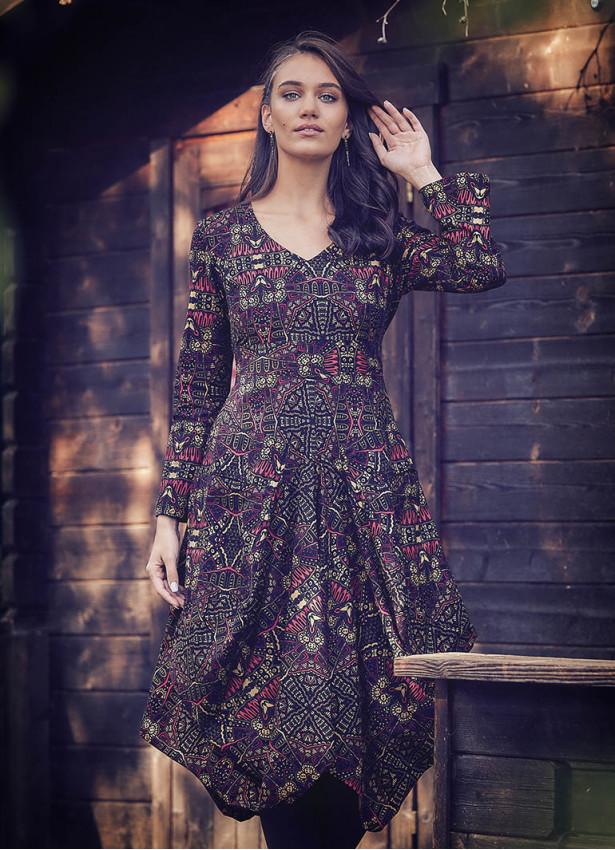 Karat Desenli Derin V Yaka Uzun Kollu Elbise