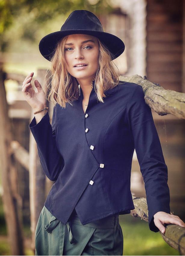 Çapraz Düğmeli Hakim Yaka Kadın Siyah Ceket Bluz