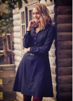 Düğmeli Uzun Kollu Diz Boyu Siyah Gömlek Elbise