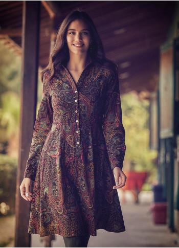 Etnik Desenli Uzun Kollu Diz Boyu Gömlek Elbise