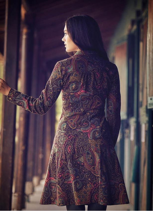 Etnik Desenli Uzun Kollu Kahve Gömlek Elbise