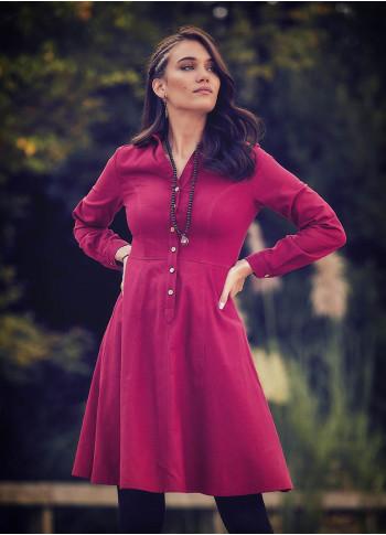 Bohem Tarz Diz Boyu Kırmızı Gömlek Elbise