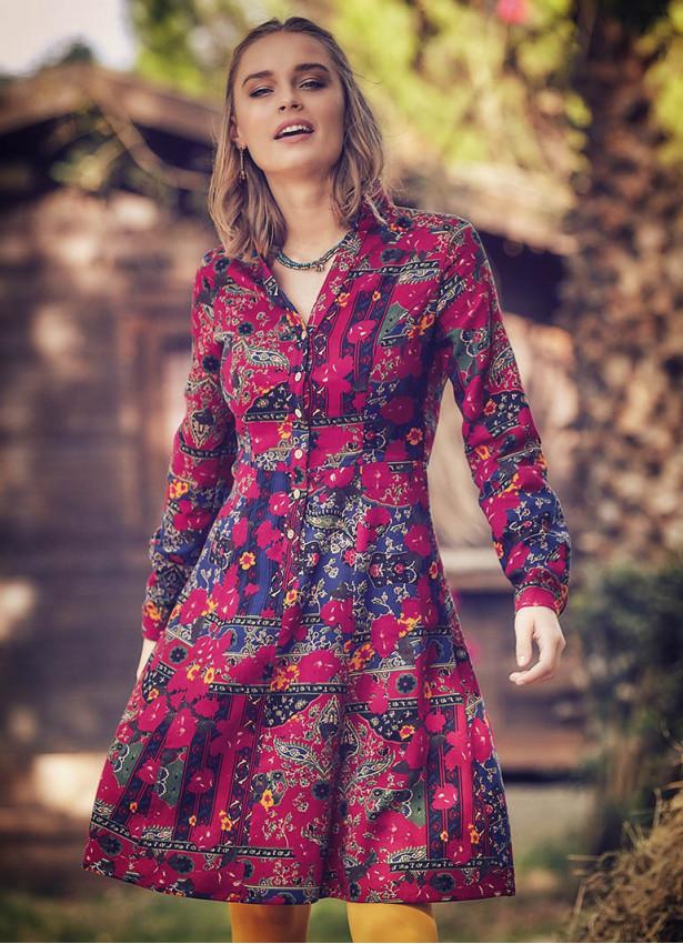 Roma Desenli Uzun Kollu Diz Boyu Gömlek Elbise