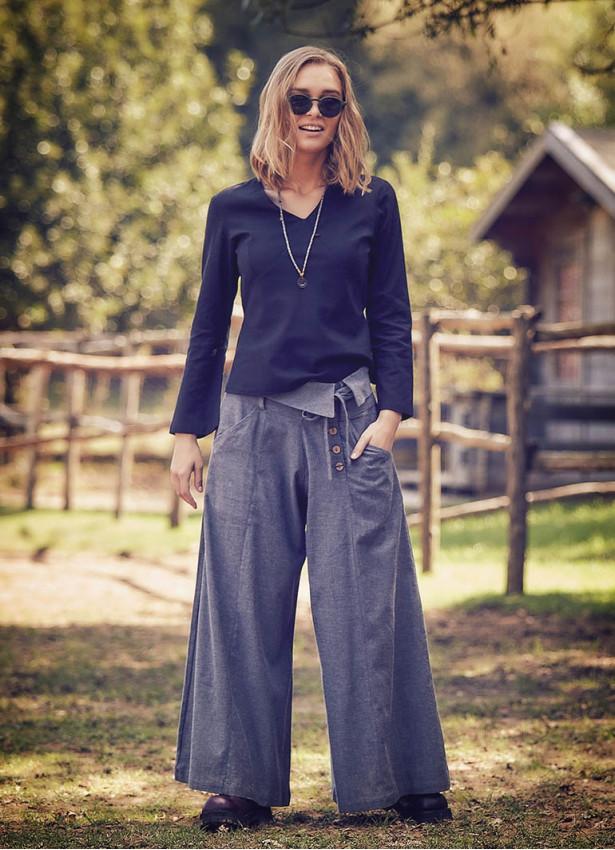 Düşük Bel Düğmeli Bol Paça Kadın Gri Pantolon