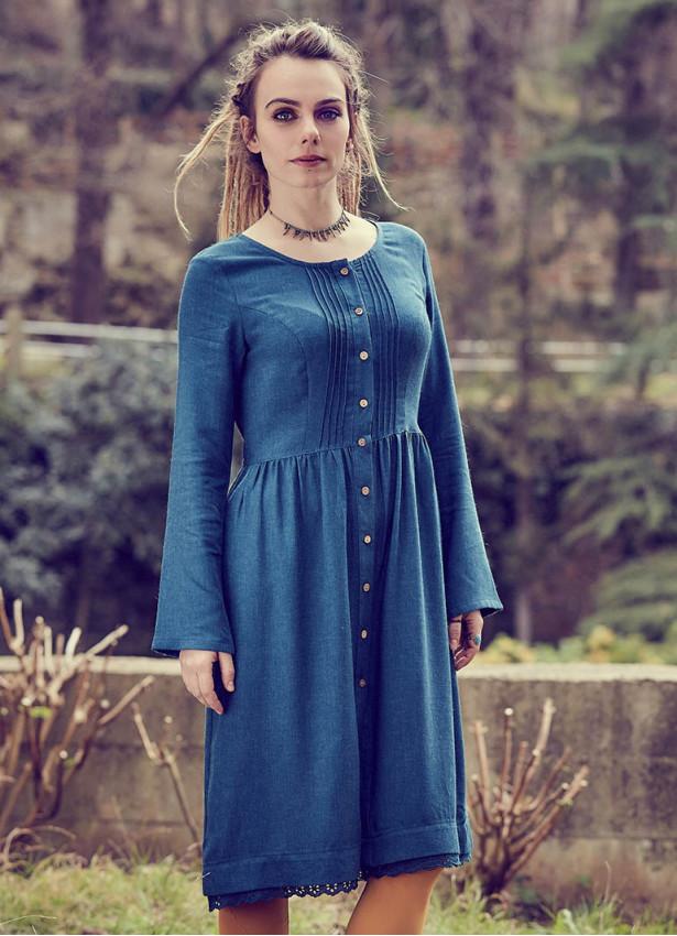 Nervürlü Yaka Dantelli Uzun Kollu Petrol Elbise