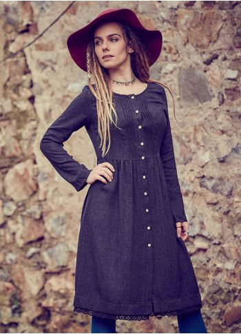 Nervürlü Yaka Dantelli Uzun Kollu Siyah Elbise