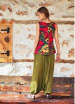 Gipe Bel Lastikli Kadın Haki Şalvar Pantolon
