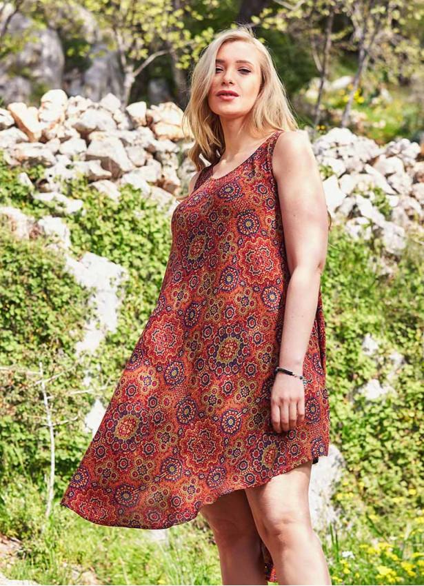 Retro Desenli Kayık Yaka Kolsuz Büyük Beden Elbise