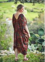 Kayık Yaka Açık Omuz Büyük Beden Kahverengi Elbise
