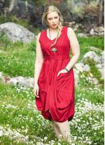 Belden Bağlamalı Cepli Büyük Beden Kırmızı Elbise