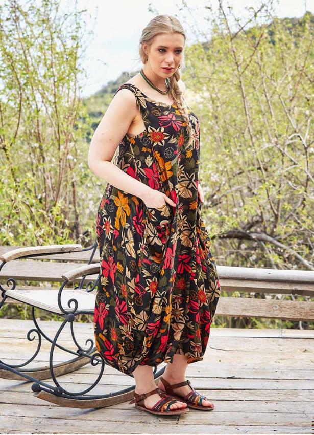 Çiçek Desenli Kayık Yaka Büyük Beden Elbise