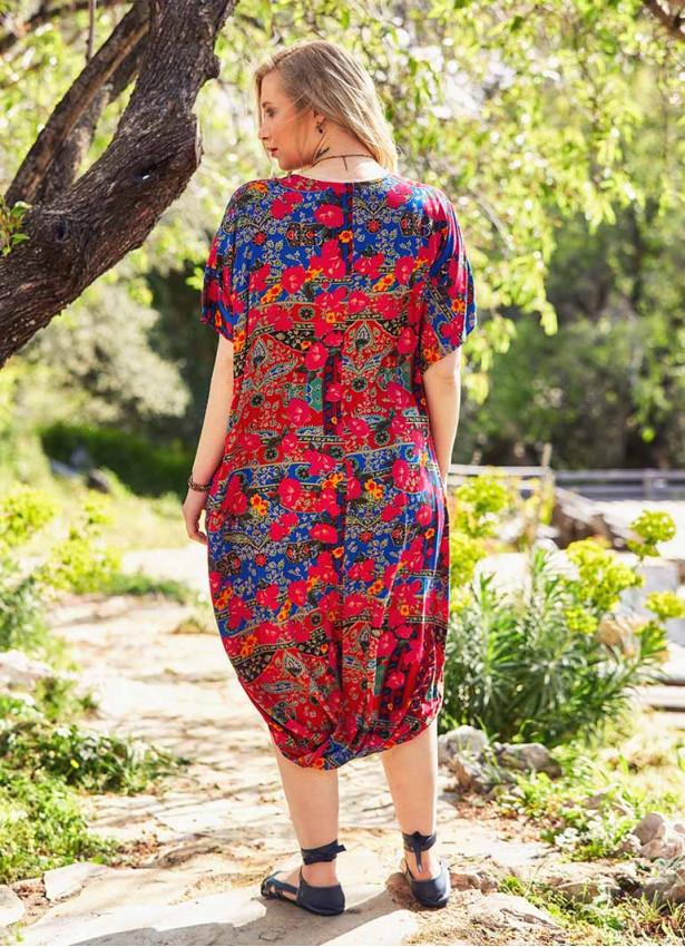 Roma Desenli Etek Ucu Detaylı Büyük Beden Elbise
