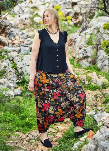 Çiçek Desenli Düğmeli Büyük Beden Şalvar Pantolon