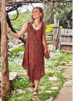 Etnik Desen Kayık Yaka Kolsuz Bohem Günlük Elbise