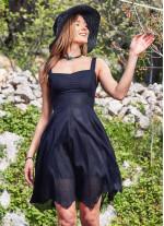 Askılı Sırt Dekolteli Kloş Günlük Elbise
