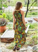Etnik Desenli Önü Kısa Arkası Uzun Anvelop Elbise