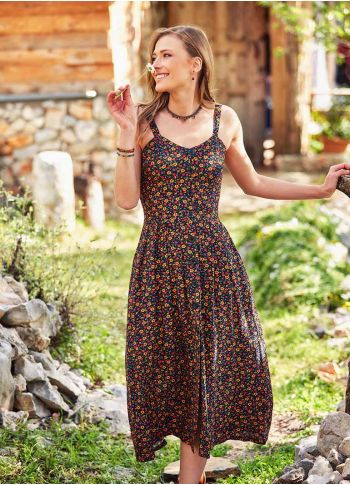 Çiçekli Yazlık Desenli Uzun Elbise