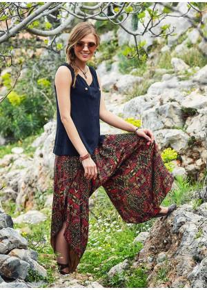 Desenli Ribana Bel Yırtmaçlı Kadın Şalvar Pantolon