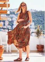Bohem Tarz Kayık Yaka Pile Detaylı Hamile Elbise