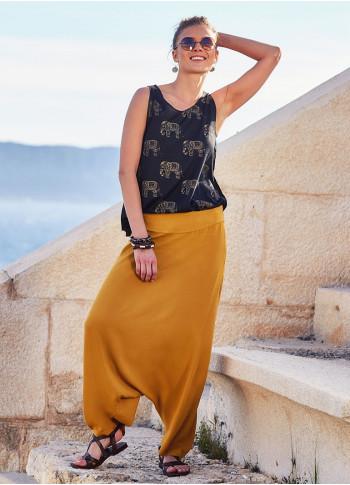 Bohem Tarz Hardal Rengi Yazlık Şalvar Pantolon