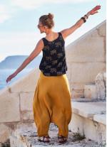 Bohem Tarz Fermuarlı Kadın Hardal Şalvar Pantolon