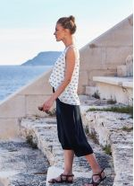 Bisiklet Baskılı Tasarım Kolsuz Beyaz Kadın T-Shirt
