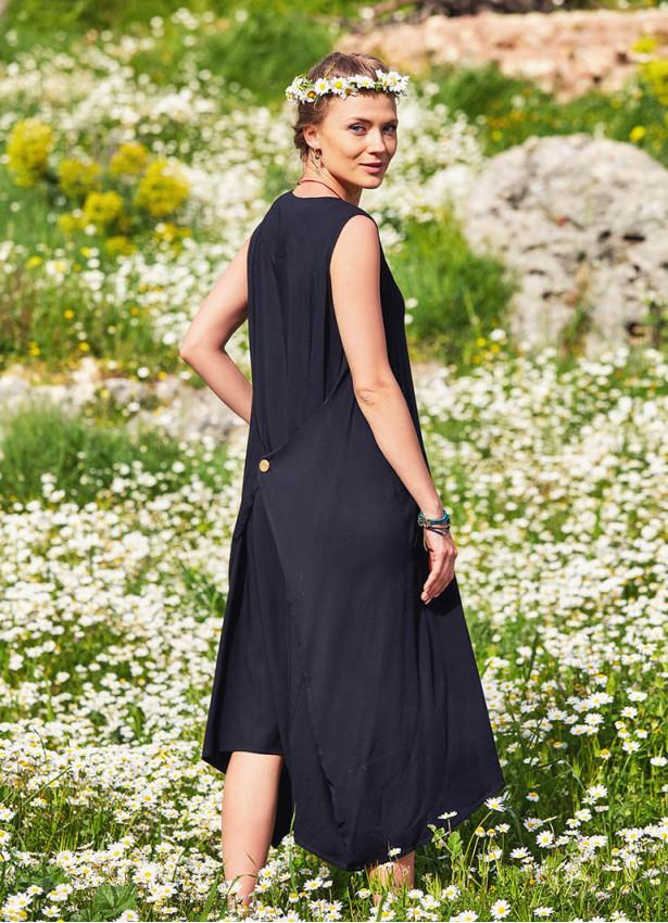 Kayık Yaka Bağcıklı Siyah Yazlık Cepli Uzun Elbise
