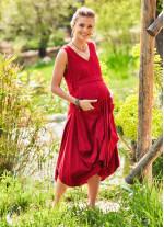 Balon Etekli V Yaka Kolsuz Uzun Hamile Elbise