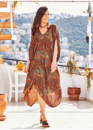Etnik Desenli Kayık Yaka Sırt Dekolteli Elbise