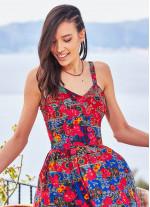 Etnik Roma Desenli Düğmeli Askılı Yazlık Elbise