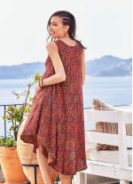 Retro Desenli Kayık Yaka Kolsuz Hamile Elbise