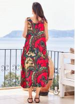 Kayık Yaka Düğmeli Cepli Kırmızı Hamile Elbise
