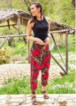 Etnik Desenli Gipe Bel Kırmızı Şalvar Pantolon