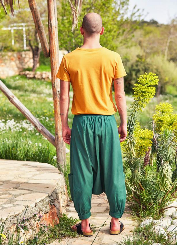 Bağcıklı Cepli Kapri Erkek Yeşil Şalvar Pantolon