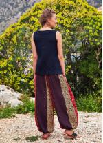 Etnik Çiçek Desenli Beli Lastikli Şalvar Pantolon