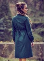 Hakim Yaka Detaylı Cepli Uzun Kollu Yeşil Elbise