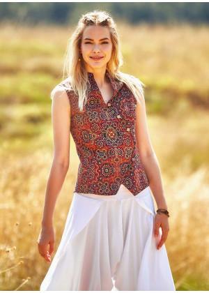 Etnik Desenli Çapraz Düğmeli Retro Bluz