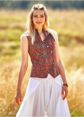 Etnik Desenli Çapraz Düğmeli Retro Şık Bluz