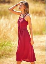 Bohem Tarz Düğmeli Geniş Askılı Uzun Bordo Elbise