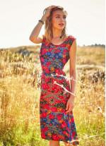 Çiçek Desenli Ön ve Arka Bağlama Kayık Yaka Elbise