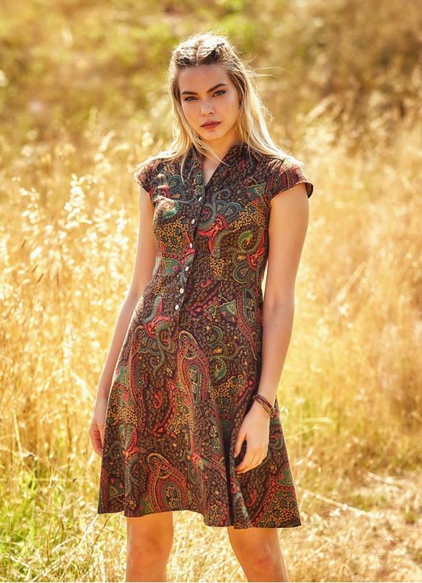 Etnik Desenli Düğmeli Kısa Kollu Kloş Elbise