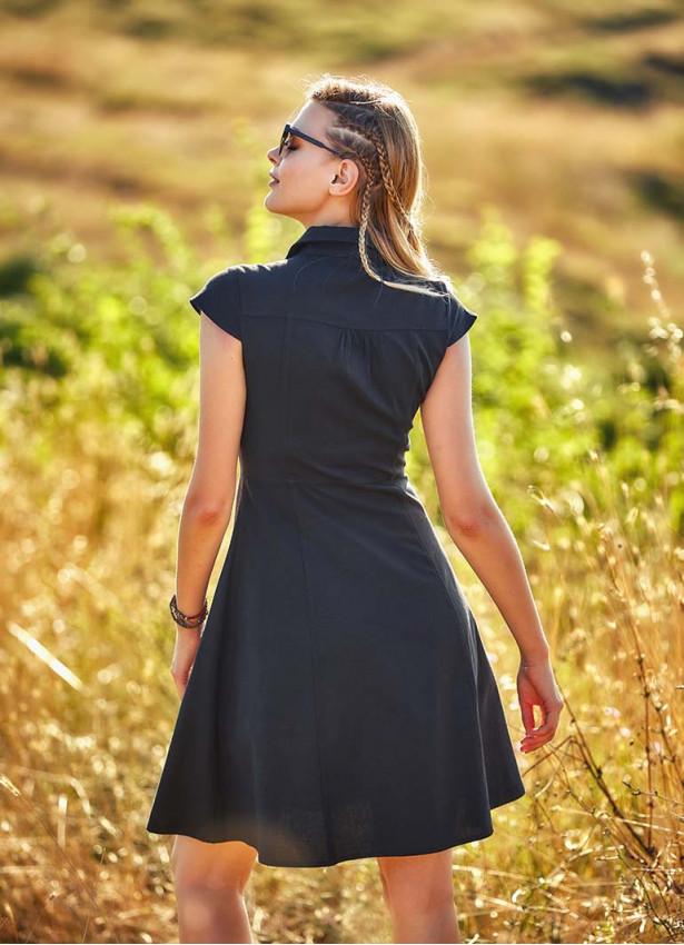 Gömlek Yaka Ön Düğmeli Kısa Kollu Kloş Elbise
