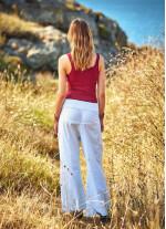 Geniş Paça Beli Bağcıklı Beyaz Balıkçı Pantolon