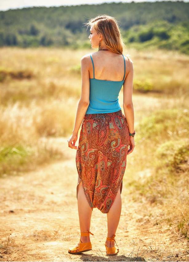 Etnik Desen Düşük Bel Kahverengi Etek Pantolon