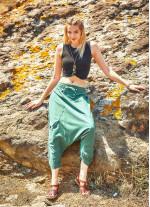 Kapri Beli Bağlamalı Kadın Yeşil Şalvar Pantolon